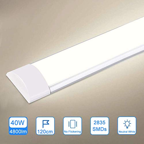 40W LED Deckenleucht Röhre 120CM,LED Feuchtraumleuchte Naturweiß 4000K,4800LM 130°Abstrahlwinkel für Badzimmer Wohnzimmer Küche Garage Lager Werkstatt