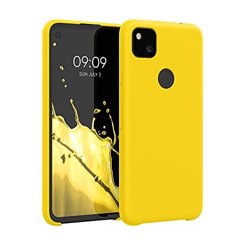 kwmobile Hülle kompatibel mit Google Pixel 4a - Hülle Handyhülle gummiert - Handy Hülle in Vibrant Yellow