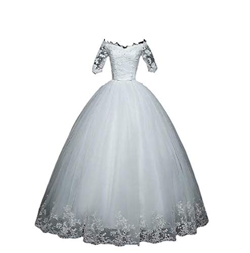 Vestido De Noiva Princesa Bordados E Rendas Manga 3/4 (Branco)