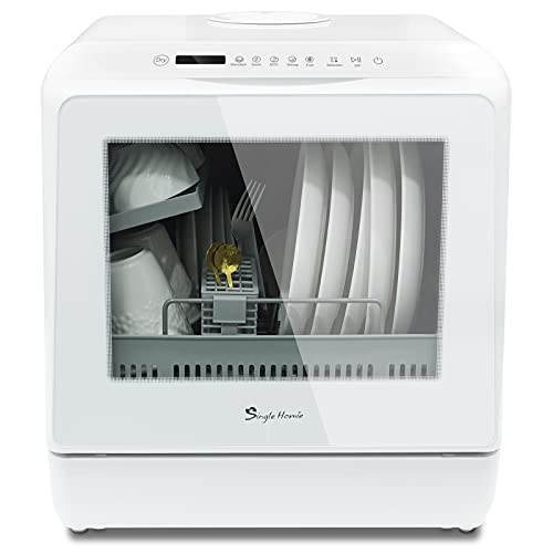 Table Top Dishwasher, Mini Countertop Dishwasher Portable, 5 Programs, Built-in 5L Water Tank Dual Water Supply Modes with Touch Control, LED Display, Fruit Wash Function, Installation Free-White