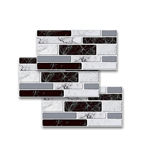 QWEP Autoadesivi in Marmo in Bianco e Nero Adesivi da Parete Adesivo da Parete Carta a Prova di Olio Peel & Stick per Bagno Cucina Backsplash Home (Color : Black And White, Size : 10x20cmx9pcs)