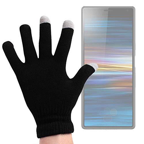 DURAGADGET Guantes Negros para Pantalla Táctil para Smartphone Sony Xperia L3, Alcatel 1S - Talla Mediana - ¡Ideales para El Invierno!