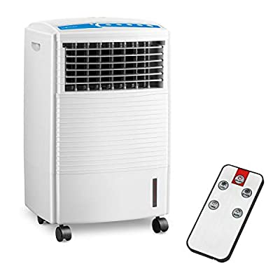 Uniprodo Mobile Water Air Cooler 3-in-1 Evaporative Air Cooler Humidifier Purifier Portable Air Filter Flexible 10L Water Tank UNI_Cooler_04 (PS/ABS Plastic, 2 Ice Cartridges, Remote Control 5m)