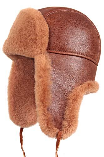 Zavelio Unisex Shearling Sheepskin Leather Aviator Russian Ushanka Trapper Winter Fur Hat XX-Large Peach Brown