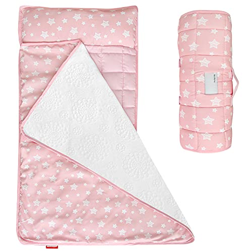 Moonsea Toddler Nap Mat Pink, Removable Pillow and Fleece Minky Blanket, Lightweight and Soft Perfect for Kids Preschool, Daycare, Travel Sleeping Bag for Girls, Designed to Fit on a Standard Cot