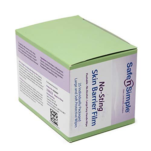 Safe n' Simple Skin Barrier No-Sting Skin Wipes, 25 Count No-Sting Skin Barrier Film – Large