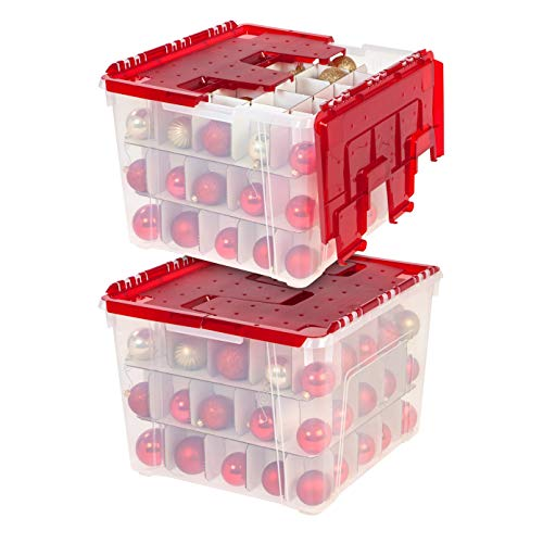 IRIS USA WL-60 Holiday Wing-Lid Box with Ornament Dividers, 60 Qt, Clear/Red, 2 Pack