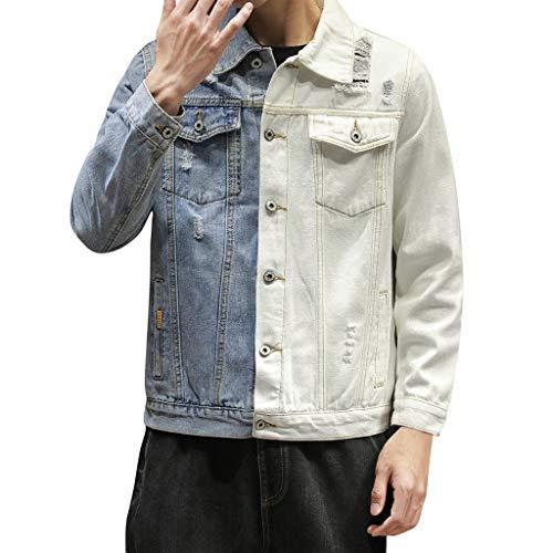 Kriosey Herren Denim Jacke White and Blue Two Colors Patchwork Design Jeansjacke Ripped Jacket Mäntel Outwear Große Größe Übergangsjacke Hoodie Sweatjacke Slim Fit Freizeitjacke Kapuzenpullover