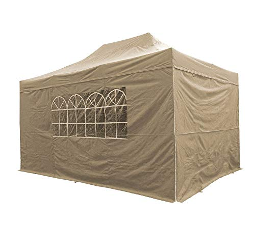 AIRWAVE 3x4.5m Waterproof Beige Garden Pop Up Gazebo - Stunning Outdoor Marquee Tent with Carry Bag