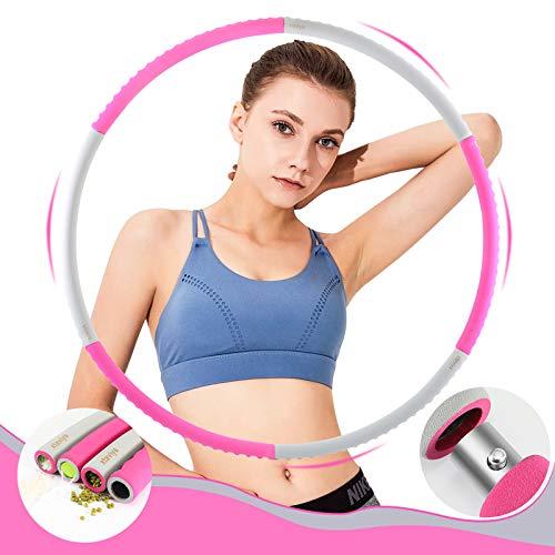 xtaviya Hula Hoop Reifen Erwachsene, Faltbar Fitness Welle Gewichte 1.2kg Anpassbar für Gym Training Sport 6 Teilig zerlegbares Design Hula Hoop aus verzinktem Stahlrohr