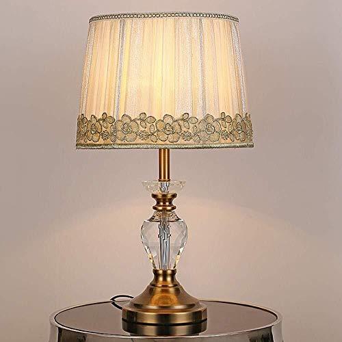 ZAQXSW Vintage Klassische Tischlampe Glasschliff Urn Retro Messing Stoff Shade 20