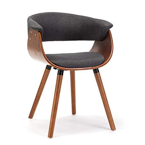 schalenstuhl armlehnen Holz Retro Stuhl bürostuhl bürostuhl Vintage Stuhl bürostuhl stoffbezug esszimmerstühle Holz Polster Stoff mit Noten sitzschale Stuhl schalenstuhl esszimmerstühle (Grau)