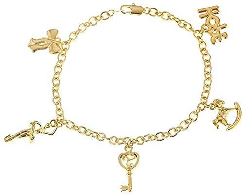 Pulsera, collar, caballo mecedora, pulsera para mujer, niña, color dorado, brazalete, encantos,...
