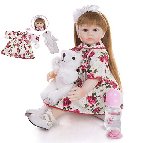 TINGSHOP 48 Cm Silicona Suave Reborn Dolls Paño Cuerpo Fantasía Princesa Bebé Niña Muñeca Juguetes Reborn Niños Regalo De Cumpleaños Best Playmate Babies Best, Vestido Floral