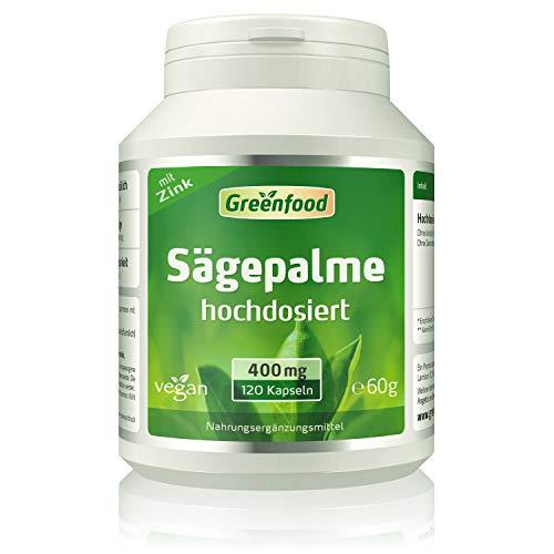 Greenfood Sägepalme, 400 mg reine Sägepalme plus Zink, 120 Kapseln – natürliches Mittel bei Männerbeschwerden. Hoher Anteil Phytosterole. OHNE künstliche Zusätze. Ohne Gentechnik. Vegan.