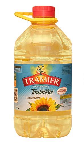 Tramier Huile de tournesol (1 x 3 L), bouteille d'huile 100 % issue de graines de tournesol, huile alimentaire pour cuisson & assaisonnement riche en vitamine E