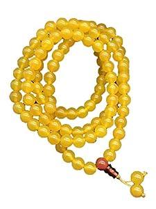 ZHIBO Natürliche tibetische Dzi-Perlen-Halskette mit gelbem Achat-Armband.
