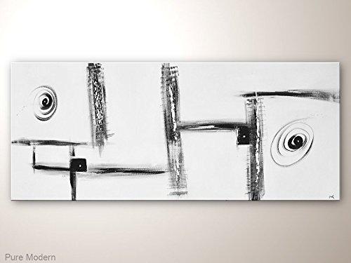 Abstrakte Kunst in Schwarz Weiß, Minimalistisches Gemälde auf Leinwand im Grossformat