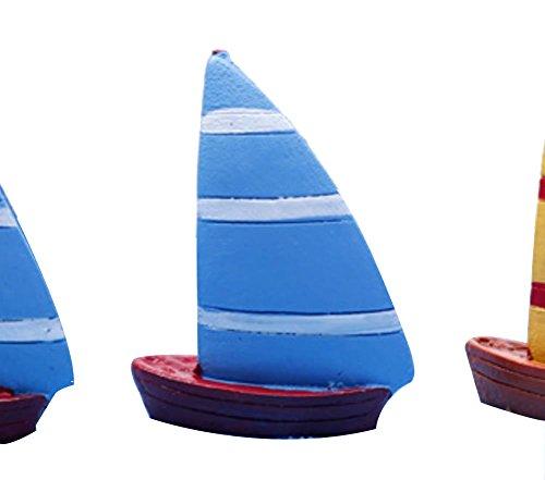 LAMEIDA Miniature Décoration Bonsaï Miniature Bateau à Voile en Résine Moss plantes artificielles Micro Jardin Paysage fait à la main Ornements pour aquarium (bleu-2.5*3cm)