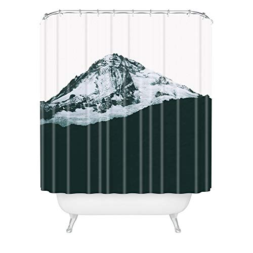 "Society6 Hannah Kemp Mount Hood Black and White Shower Curtain, 72""x69"""
