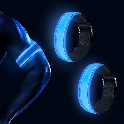 FYKERO LED Armband Leuchtband Reflektorband - DREI Beleuchtungsmodi Aufladbar Reflektoren Kinder Sicherheitslicht mit USB für Joggen,Hundewandern,Radfahren,Outdoor Sports Fahrradzubehör(Blau)