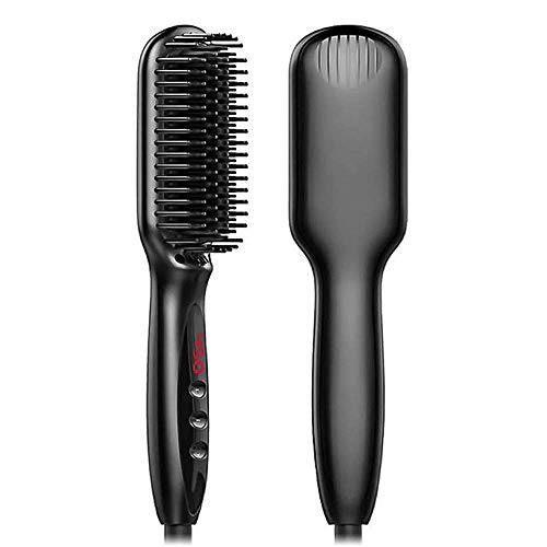 Hair Straightener Brush,Hair Straightener Ionic Hair Straightening Brush with Fast Ceramic Heating, Anti-Scald, Auto Temperature Lock and Auto-Off JIAJIAFUDR