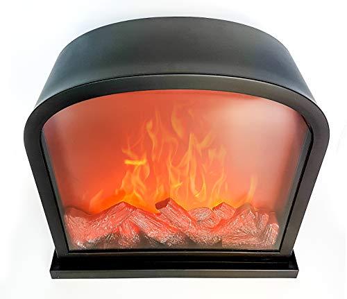 LED Tischkamin Kamin LED Laterne mit realistischer Flammensimulation schwarz aus Kunststoff 30x28 cm