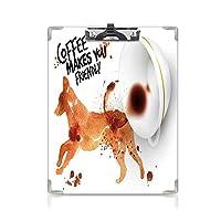 クリップボード A4サイズ対応 レンジップボード コーヒーアート 作業用ペーパーホルダー (2パック)フレンドリーな動物ジャンプ犬水彩画飛び散っコーヒードロップアートバーントシエナブラックホワイト