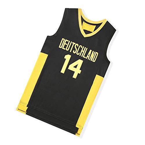 Deutschland #14 Nowitzki Basketball Movie Trikot Weste Junge Männer und Frauen Fans Sommer Basketball Uniform Training Weste Sport T-Shirt Atmungsaktiv Outdoor Jersey (S-2XL) Gr. M, Schwarz