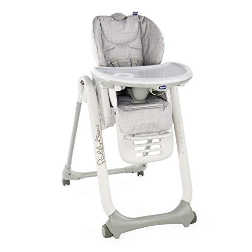 Chicco Polly 2 Start Chaise Haute pour Bébé de la Naissance à 3 ans (15 kg), Réglable, 4 Roues, Dossier Entièrement Inclinable en Transat et Fermeture Compacte - happy silver