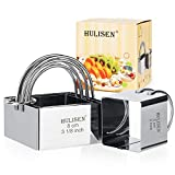 HULISEN Square Biscuit Cutter Set (4 Pieces/ Set), Stainless Steel Cookies Cutter with Handle, Professional Baking Dough Tools (Square)