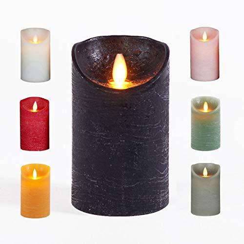 JACK LED Echtwachskerze Kerze viele Farben DREI Größen Timer Ø 7,5cm flackender Docht Wachskerze Kerzen Batterie, Farbe:Schwarz, Größe:15 cm
