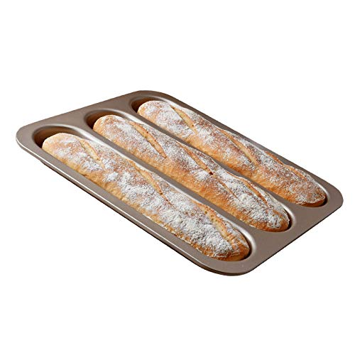 ALIKEE Nonstick Perforated Pan for French Bread Baking 3 Holes Loaves Loaf Bake Toast Cooking Bake Pan
