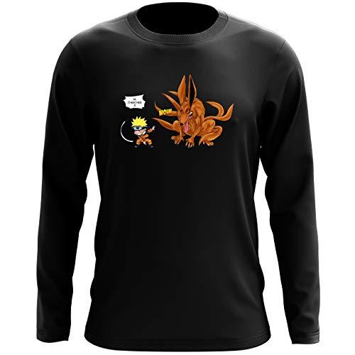 T-Shirt à Manches Longues Noir Naruto parodique Naruto et Kyubi Le démon Renard à 9 queues : Va Chercher ! (Parodie Naruto)