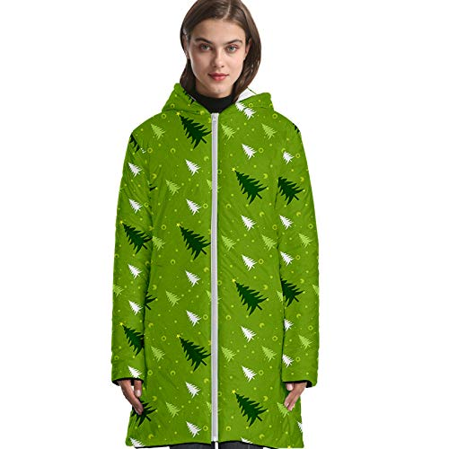 URVIP Unisex 3D All Over Printed Christmas Long Down Jacket Hooded Puffer Coat Multi-16 2XS