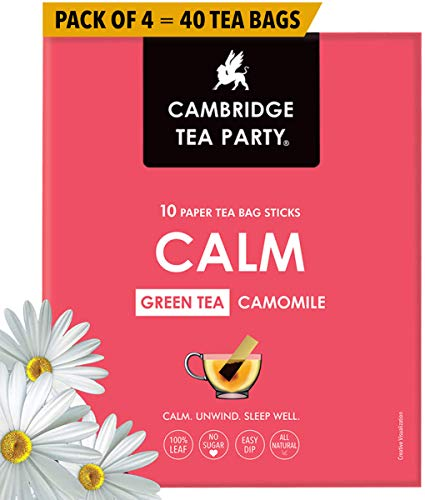 Cambridge Tea Party Calm, Chamomile Green Tea, 40 Tea Bag Sticks