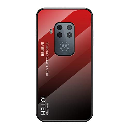 """Grandcase Capa para Motorola One Zoom,Capa Traseira de Vidro Temperado Gradiente Moderna Antiarranhões à Prova de Choque Capa Protetora Híbrida para Motorola One Zoom/Pro 6.39"""" -Vermelho"""