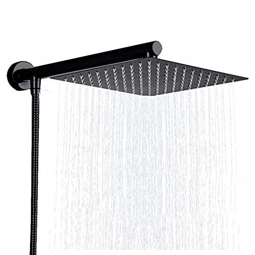 """Quadratischer Regenduschkopf, 8""""Ultradünner Wasserfall-Duschkopf aus Edelstahl, Messing 15""""Duscharm, 59""""Edelstahlschlauch, Wandduschkopf Chrom,Schwarz"""