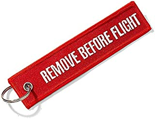 Remove Before Flight Cloth Keychain - Red