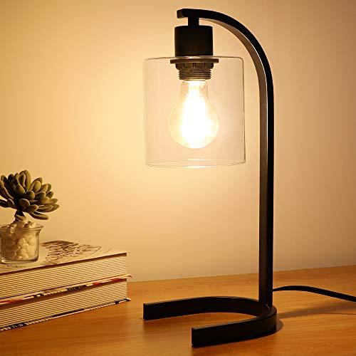 Depuley Lámpara de mesa de metal, lámpara de noche de hierro negro, pantalla de cristal transparente, diseño industrial moderno retro, bombilla E27 no incluida, fácil de instalar para salón o oficina