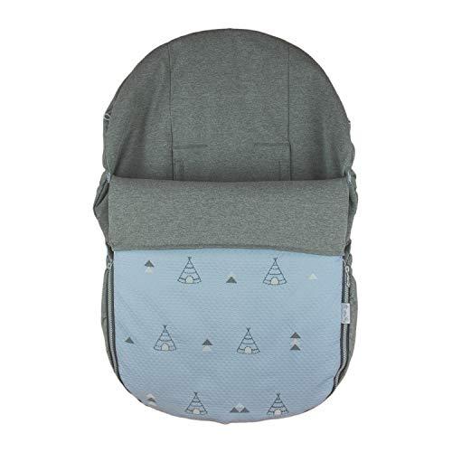 Rosy Fuentes - Saco de Capazo Grupo 0-10 x 50 x 60 cm - Color Azul Empolvado - Poliéster y Algodón - Equipado para ser Ajustado - Saco Universal para Silla de Bebé Grupo 0