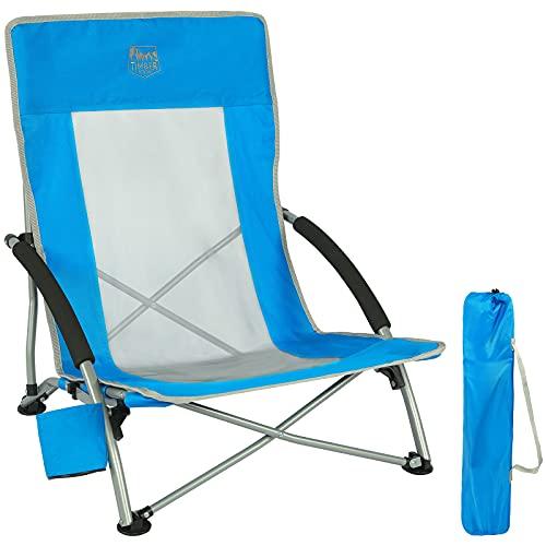 TIMBER RIDGE Silla Plegable de Playa Portátil Bajo Silla de Camping Aluminio Espalda Alta en Malla Ultraligero con Bolsa de Transporte Azul