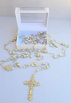 Gold Crystal and Faux Pearl Beads Wedding Lasso White Rosary with Silver Gold Cross Adorned with Crystals Lasso para Boda En Color Plata y Cristal Gift Favor Laso Mancuerna with Gift Box