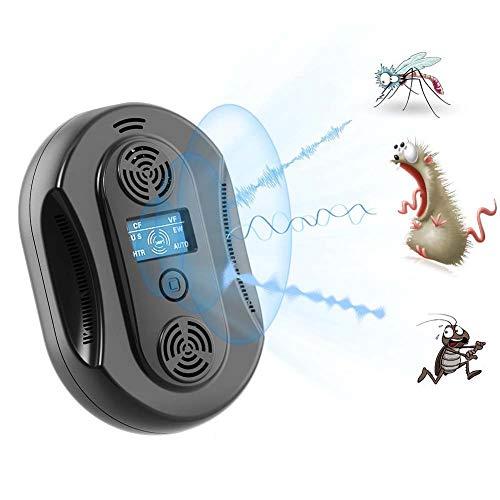 GLXQIJ Enchufador UltrasóNico Inteligente Enchufable, Dispositivo Repelente para El Control De Plagas En Interiores, Interruptor TáCtil Y Pantalla LCD,Black