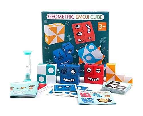 XinYunLD Geometrico Emoji Puzzle Cube Set Cubi Magic Cubes Interazione Giocattolo 4 Confezione Blocchi di Building Blocks Emoji Gioco di Corrispondenza Emoji for Il Pensiero Logico e la Formazione