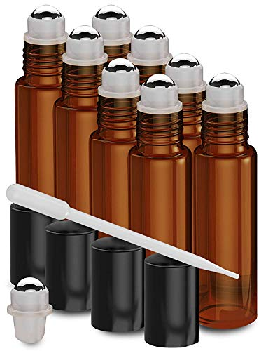 8 Pack - Essential Oil Roller Bottles [Metal Chrome Roller Ball] FREE Plastic Pippette Refillable Glass Color Roll On for Fragrance Essential Oil - 10 ml 1/3 oz (Amber)