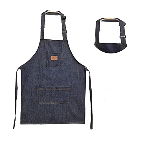 Adjustable Unisex Kids Jeans Apron For Boys, Girls Apron Chef Cotton Denim Apron With 3 Pockets Kitchen Cooking Baking Wear, Gardening,Painting, BBQ, Art,DIY,Drawing