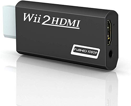 Wii Hdmi Converter Adapter, Goodeliver Wii to Hdmi 1080p Connector Output Video 3.5mm Audio - Supports All Wii Display Modes, Black