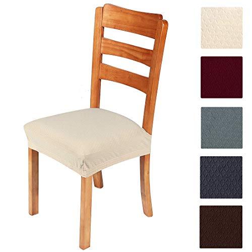 Smiry, copriseduta elastici per sedia per sala da pranzo e ufficio in tessuto jacquard, cuscini protettivi per sedia da pranzo, Beige-1., Set of 4 ( 4PCS )