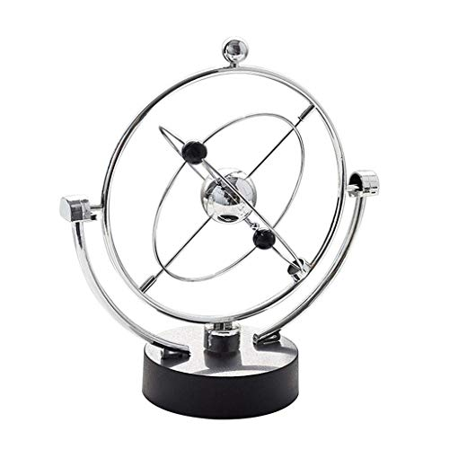 ZLBYB Skulptur Dekoration, Stahlkugeln Physik Wissenschaft Pendulum Stahl-Kugel-Schreibtisch Ornamente Spielzeug (Farbe: Silber, Größe: 22.5 * 13 * 25cm)